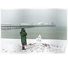 Brighton beach snowman Poster