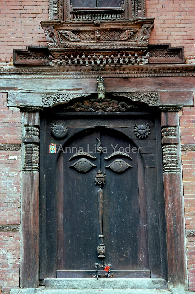 Buddha's Eyes on Nepalese Door by Anna Lisa Yoder