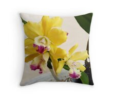Yellow and Purple Orchid Throw Pillow
