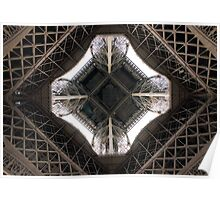 The inside of the Eiffel Tower, bottom-up view. Poster
