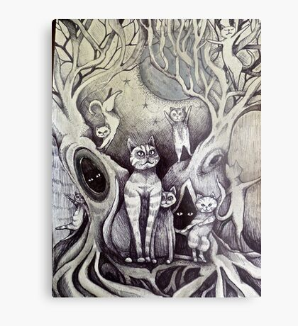 they danced under the light of the moon cat art Metal Print