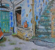 A Little Corner of Greece (. Watercolour )  by Irene  Burdell