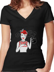 Just Give Me Coffee! Women's Fitted V-Neck T-Shirt