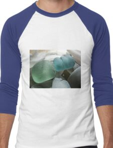 Sea Foam Green and Turquoise Sea Glass Men's Baseball ¾ T-Shirt