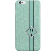1920s Blue Deco Swing with Monogram letter V iPhone Case/Skin