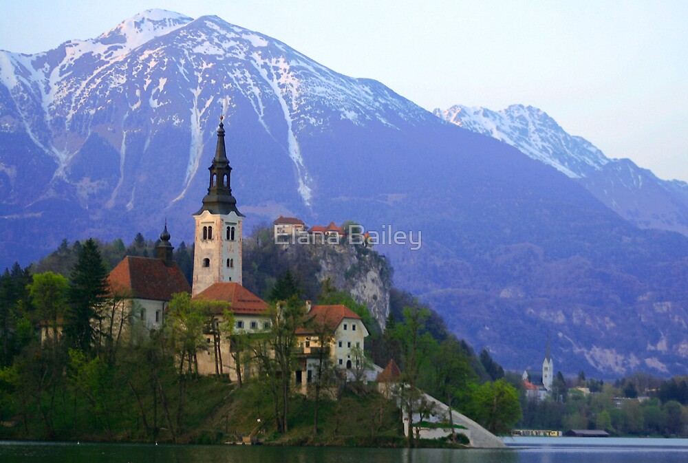Island Church at Lake Bled, Slovenia by Elana Bailey