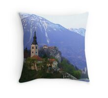 Island Church at Lake Bled, Slovenia Throw Pillow