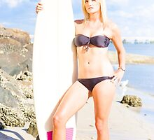 Beautiful Young Blond Surf Woman by Ryan Jorgensen