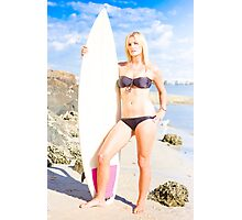 Beautiful Young Blond Surf Woman Photographic Print