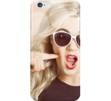 Surprised blonde woman with retro hair and makeup iPhone Case/Skin