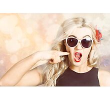 Surprised blonde woman with retro hair and makeup Photographic Print