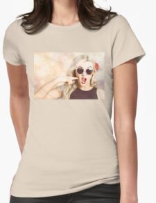 Surprised blonde woman with retro hair and makeup T-Shirt