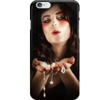 Pretty Elegant Lady Holding Jewelry Necklaces iPhone Case/Skin
