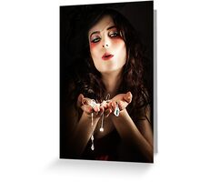 Pretty Elegant Lady Holding Jewelry Necklaces Greeting Card