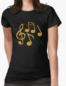 Golden Notes Womens Fitted T-Shirt