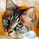A digital painting of Sheba-Rebecca Our Royal Cat by Dennis Melling