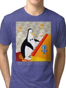 Eddie Penguin on black Tri-blend T-Shirt