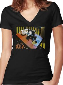Sewing Machine with Cloth Women's Fitted V-Neck T-Shirt