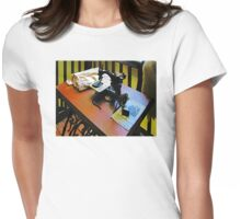 Sewing Machine with Cloth Womens Fitted T-Shirt
