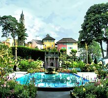 Italian Gardens - Portmeirion Village by Angela Harburn