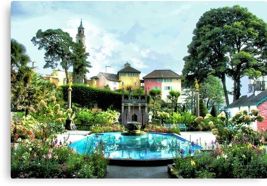 Italian Gardens - Portmeirion Village by Angela Harburn