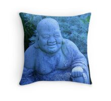 garden buddha in blue Throw Pillow