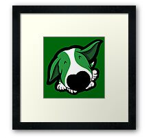 Big Nose Bull Terrier Puppy Green  Framed Print