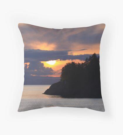 Island On Sunset Throw Pillow