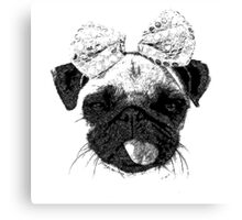 Funny Pug Dog with a bow Canvas Print