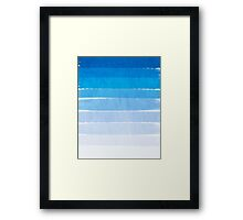 Blue Ombre Brushstroke - Summer, Beach, Ocean, Water, LA Cute trendy, painterly art Framed Print