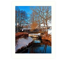 Bridge and river in winter scenery   architectural photography Art Print