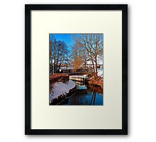 Bridge and river in winter scenery | architectural photography Framed Print