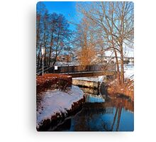 Bridge and river in winter scenery | architectural photography Metal Print