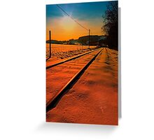 Winter season railroad sunset | landscape photography Greeting Card