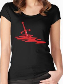 Blood red sword on a field of red blood stained battlefield Women's Fitted Scoop T-Shirt