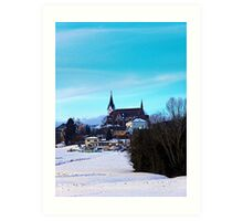 Village skyline in winter time | landscape photography Art Print