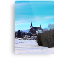 Village skyline in winter time | landscape photography Metal Print