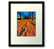 Winter avenue trail at sundown | landscape photography Framed Print