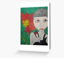 Helmet Head with Flowers Greeting Card