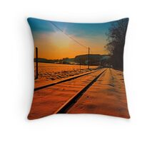 Winter season railroad sunset | landscape photography Throw Pillow