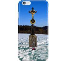 Wayside cross in winter scenery | landscape photography iPhone Case/Skin