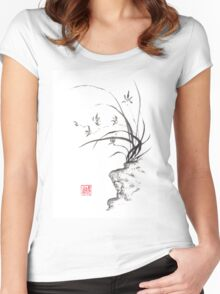Dancing on the edge sumi-e painting  Women's Fitted Scoop T-Shirt
