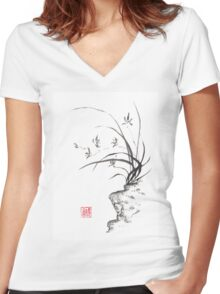 Dancing on the edge sumi-e painting  Women's Fitted V-Neck T-Shirt
