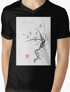 Dancing on the edge sumi-e painting  Mens V-Neck T-Shirt