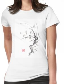 Dancing on the edge sumi-e painting  Womens Fitted T-Shirt