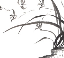 Dancing on the edge sumi-e painting  Sticker