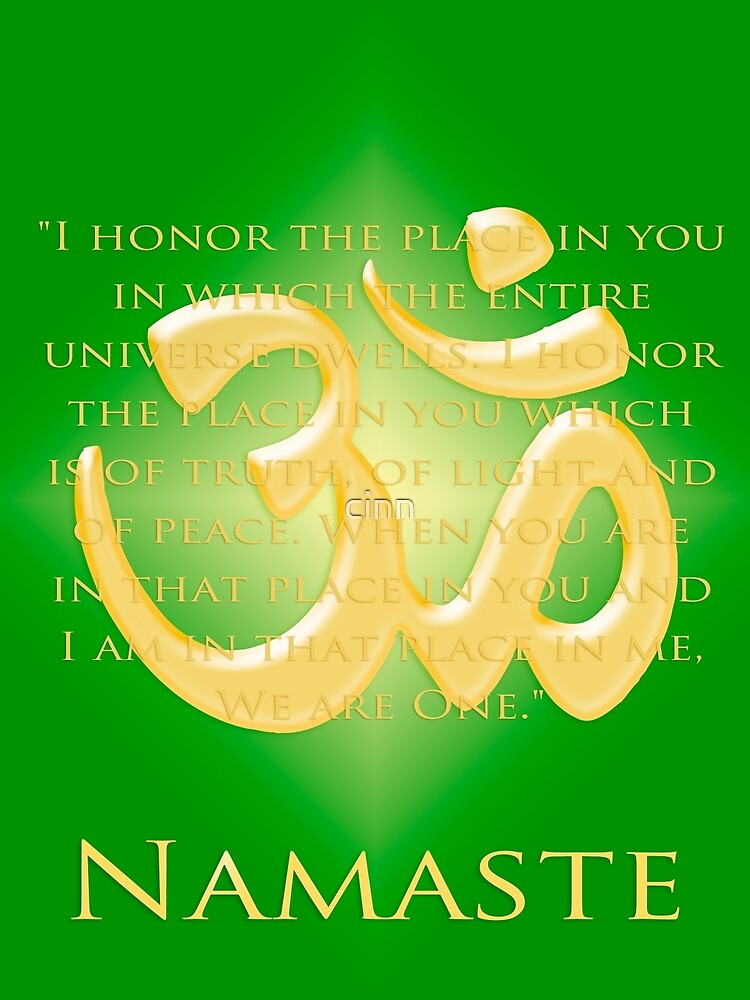 Om or Aum Symbol with Namaste quote Green by cinn