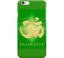 Om or Aum Symbol with Namaste quote Green iPhone Case/Skin