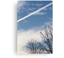 wake of the plane in the clouds Canvas Print