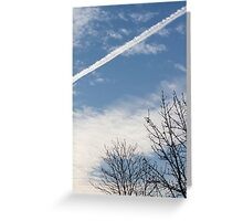 wake of the plane in the clouds Greeting Card